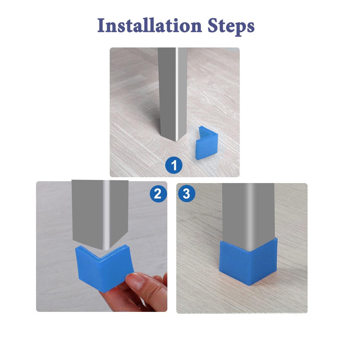 40mm x 40mm Angle Iron Foot Pad L Shaped PVC Leg Cap Floor Protector Blue 12 Pcs - image 3 de 7