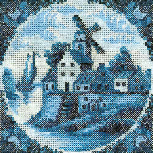 "RTO Antique Dutch Tiles Windmill I Counted Cross-Stitch Kit, 4-1/4"" x 4-1/4"", 14 Count"