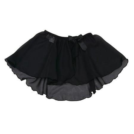 Danshuz Little Girls Size 6X-7 Black Mock Wrap Circle Skirt Dancewear