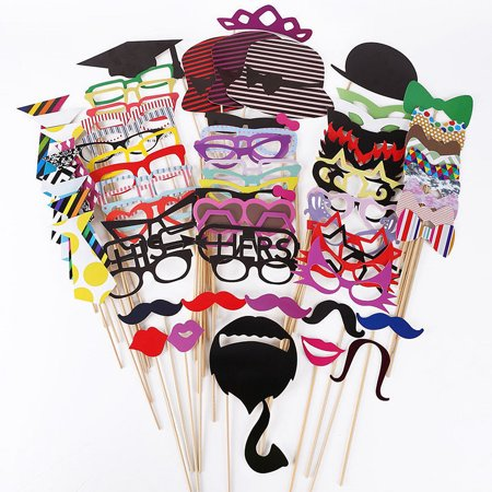 76Pcs DIY Happy Beard & Birthday Photo Booth Props Mask Glasses Mtache for Wedding Family Christmas Party Supplies Fun Favor Set Birthday Party Favors Photo