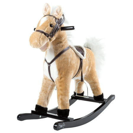 Rocking Horse Plush Animal on Wooden Rockers with Sounds, Stirrups, Saddle & Reins, Ride on Toy, Toddlers to 4 Years Old by Happy Trails