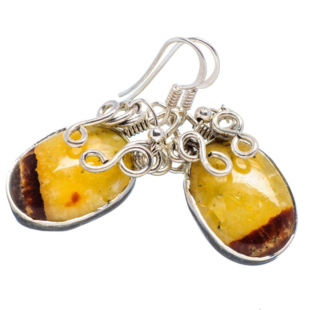 """Ana Silver Co Septarian Nodule 925 Sterling Silver Earrings 1 1/2"""" EARR353964"""