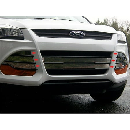 Fits 2013-2016  FORD ESCAPE 4-door, SUV (Overlay Package, Vent Cover pieces with Adhesive Promoter)-Stainless Steel GRILLE ACCENT - Grille Overlay 4 Piece