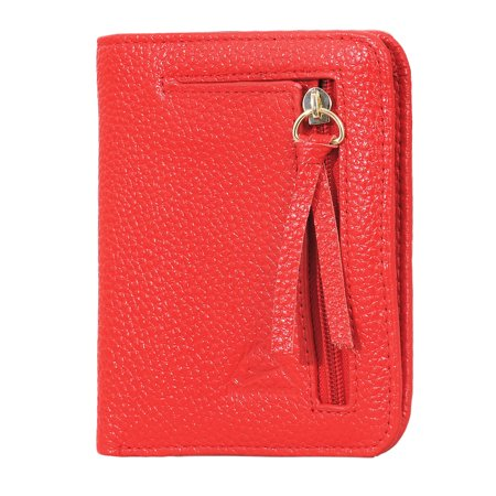 220a24608982 Hopsooken Womens Slim Genuine Leather Wallets Mini Zipper Coin Purse Credit  Card Holder (Red)