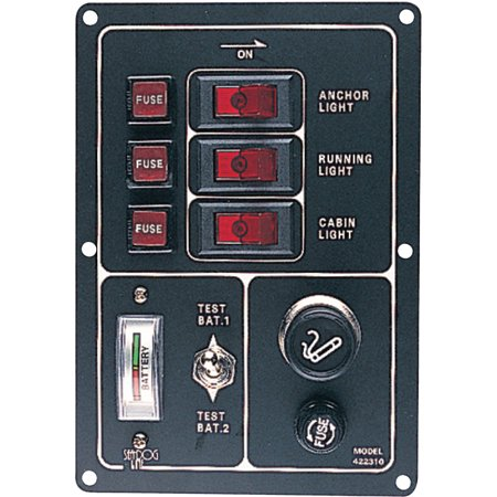 "SeaDog 422310 Illuminated Battery Rocker 3 Switch Panel, Features Gauge and Cigarette Lighter, 6-1/2"" x 4-1/2"""