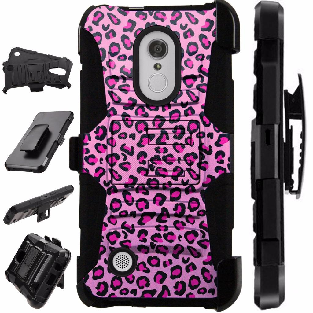 [World Acc] For LG Rebel 3 L158C L158VL L157BL Case Heavy Duty Hybrid Silicone Cover Stand LuxGuard Holster (Pink Leopard Print)