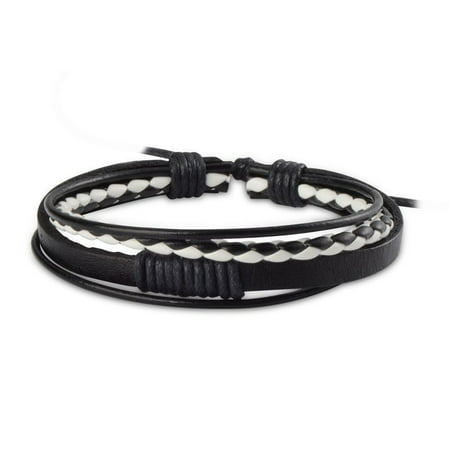 New Leather Braided Wristband Cuff Men Women Fashion Beauty Hot Bracelet Bangle (Black/White) (Mens Braided Bracelet Brown)