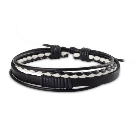 New Leather Braided Wristband Cuff Men Women Fashion Beauty Hot Bracelet Bangle (Black/White) (Back Cuff Bracelet)