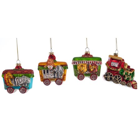 choo choo train christmas holiday glass ornaments set of 4 walmart com