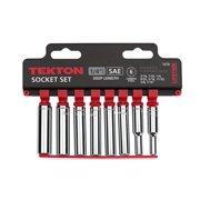 "1/4"" Inch Drive Deep Socket Set SAE 3/16"" to 7/16"" 9  Piece Set Tekton 1215"