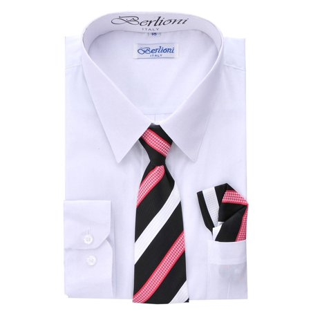 Berlioni Kids Boys Long Sleeve Dress Shirt With Tie and Hanky  White](Kids Dress Shorts)