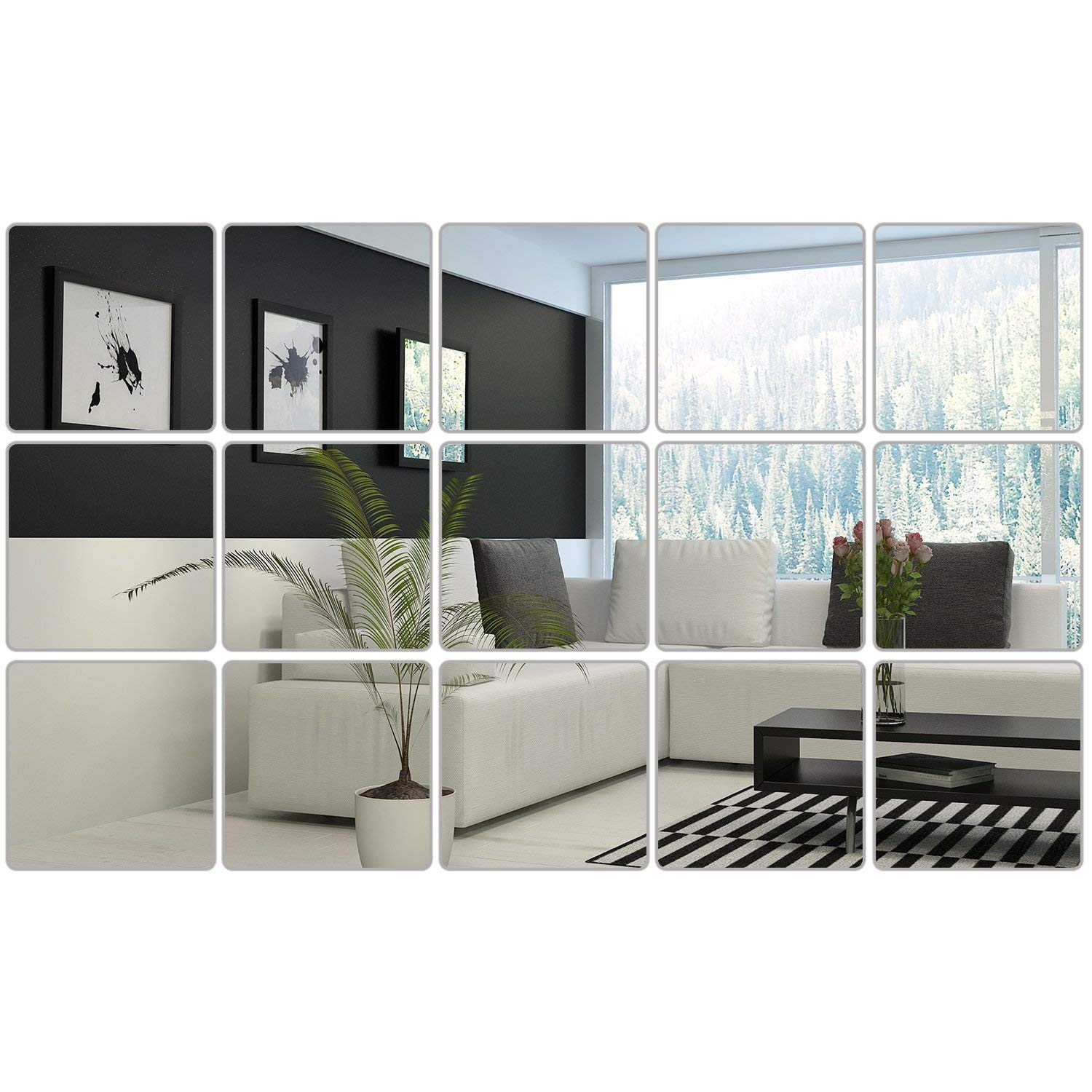 16PCS/9PCS 6 x 6 Inches Mirror Sheets Square Mirror Decals Self Adhesive Mirror Tiles Non-Glass Mirror Stickers
