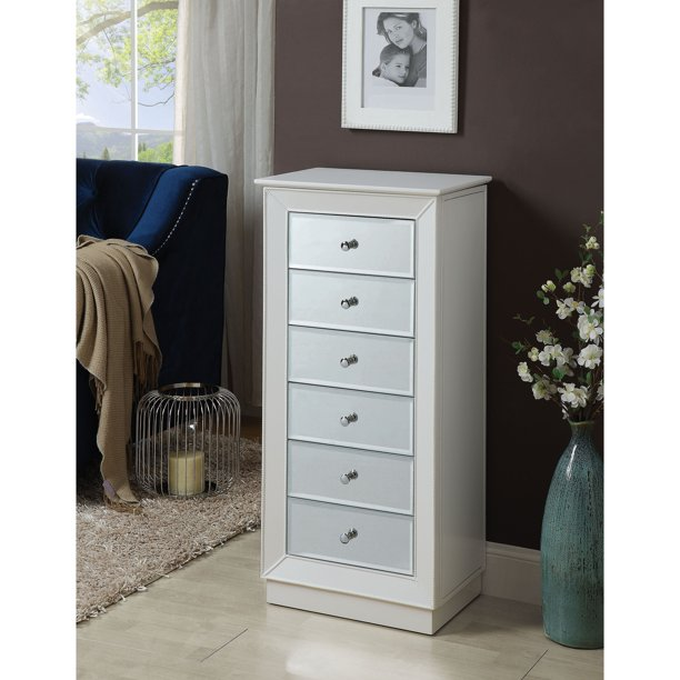 Wood Jewelry Armoire Having 6 Drawers, Ashley Furniture Mirror Jewelry Armoire