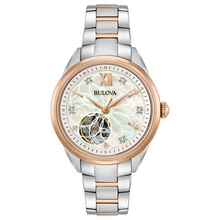 Bulova Women's Diamonds White Mother of Pearl Stainless Steel Analog Watch 98P170