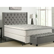 """WAYTON, 10-Inch medium plush Pillowtop Innerspring Mattress And Split Wood Traditional Box Spring/Foundation Set With Frame, No Assembly Required, Good For The Back, Queen Size 79"""" x 59"""""""