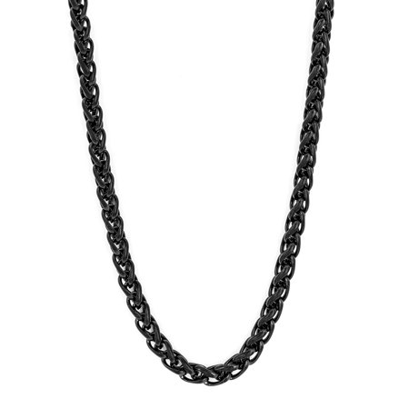 Black Chains (Black Plated Stainless Steel Spiga Chain (3mm) - 24)