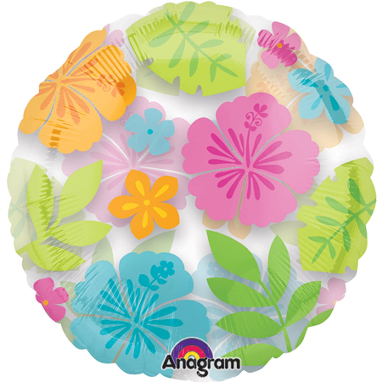 "Anagram Wild Isle Magicolor Tropical Luau Flower 18"" Foil Balloon, Clear"