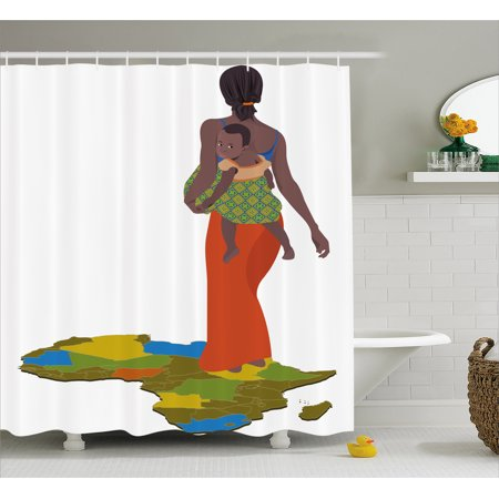 African Woman Shower Curtain, Mother Carrying Baby Girl on Her Back Africa Country Culture Continent Map, Fabric Bathroom Set with Hooks, Multicolor, by Ambesonne - Mom Shower