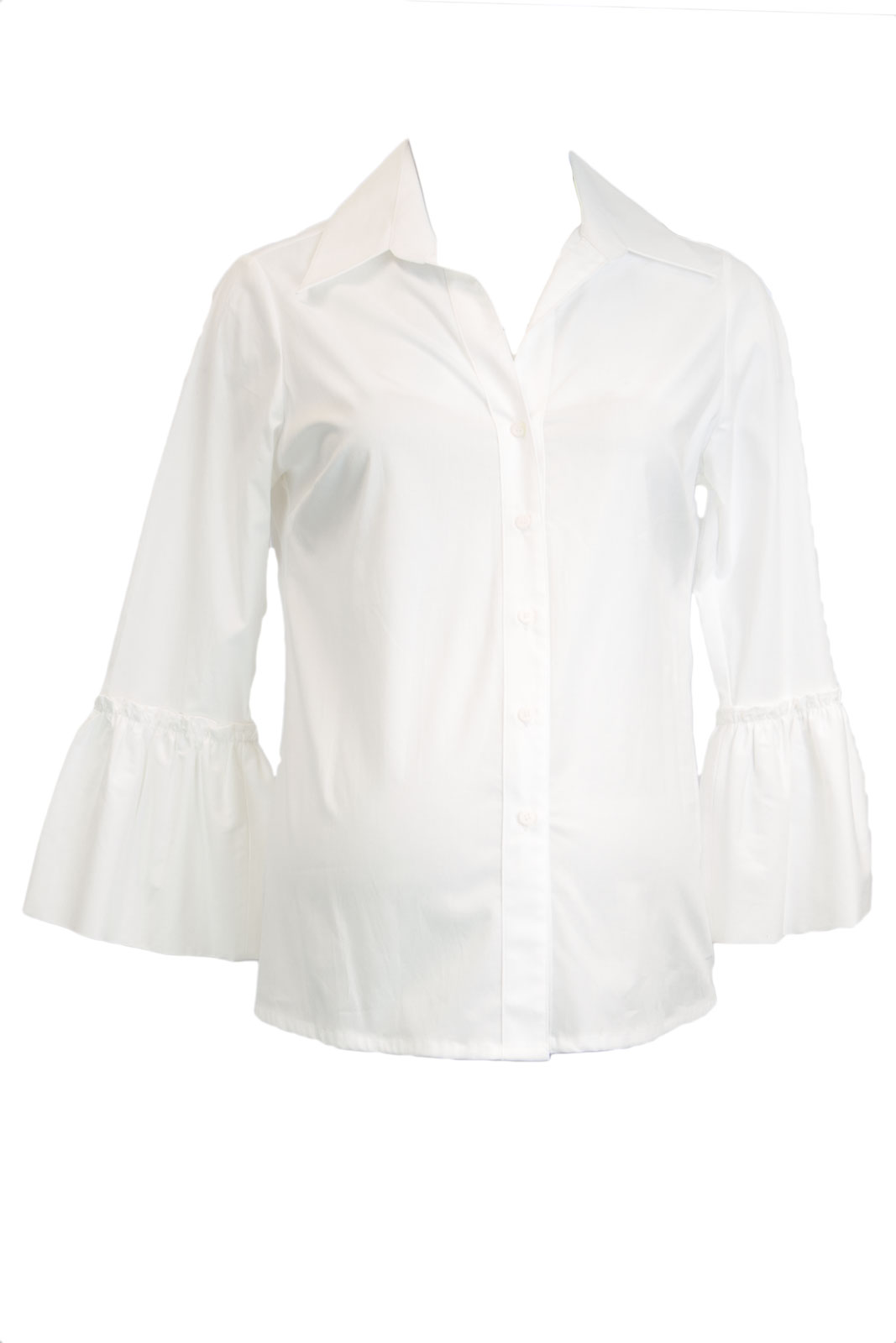OLIAN Maternity Women's Bell Sleeve Button Down Collared Shirt X-Small White by N104