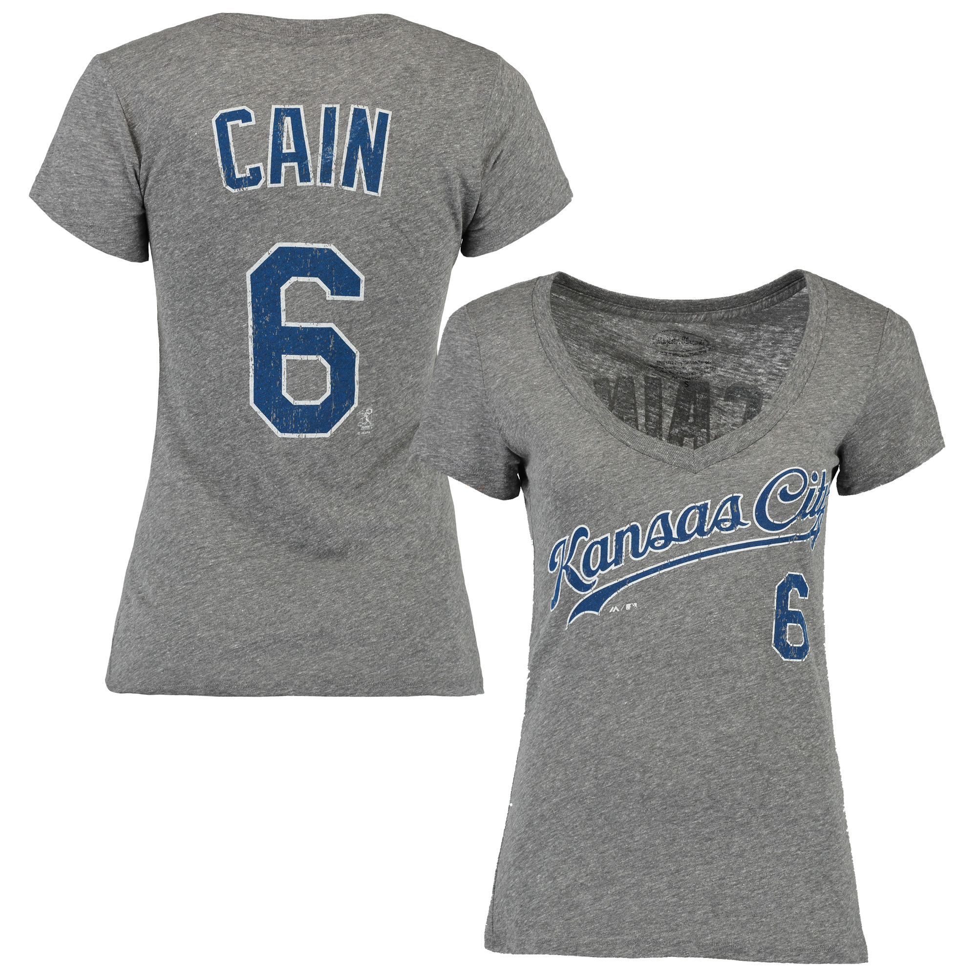 Lorenzo Cain Kansas City Royals Majestic Threads Women's Name and Number V-Neck T-Shirt - Gray