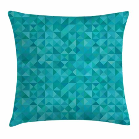 Teal Throw Pillow Cushion Cover, Geometrical Shapes Triangles Squares Modern Abstract Art Different Shades of Blue, Decorative Square Accent Pillow Case, 16 X 16 Inches, Turquoise Aqua, by (Abstract Decorative Art)