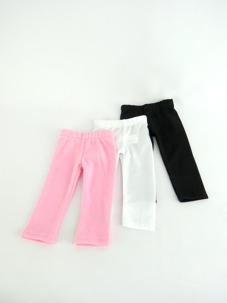 "White Plain, Plain Black, and Pink Plain Leggings Set of 3 | Fits 18"" American Girl... by"