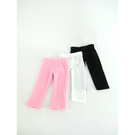 White Plain  Plain Black  And Pink Plain Leggings Set Of 3   Fits 18   American Girl Dolls  Madame Alexander  Our Generation  Etc    18 Inch Doll Clothes