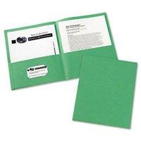 Avery 2-Pocket Embossed Portfolio, 30-Sheet Capacity, Green, 25/Box