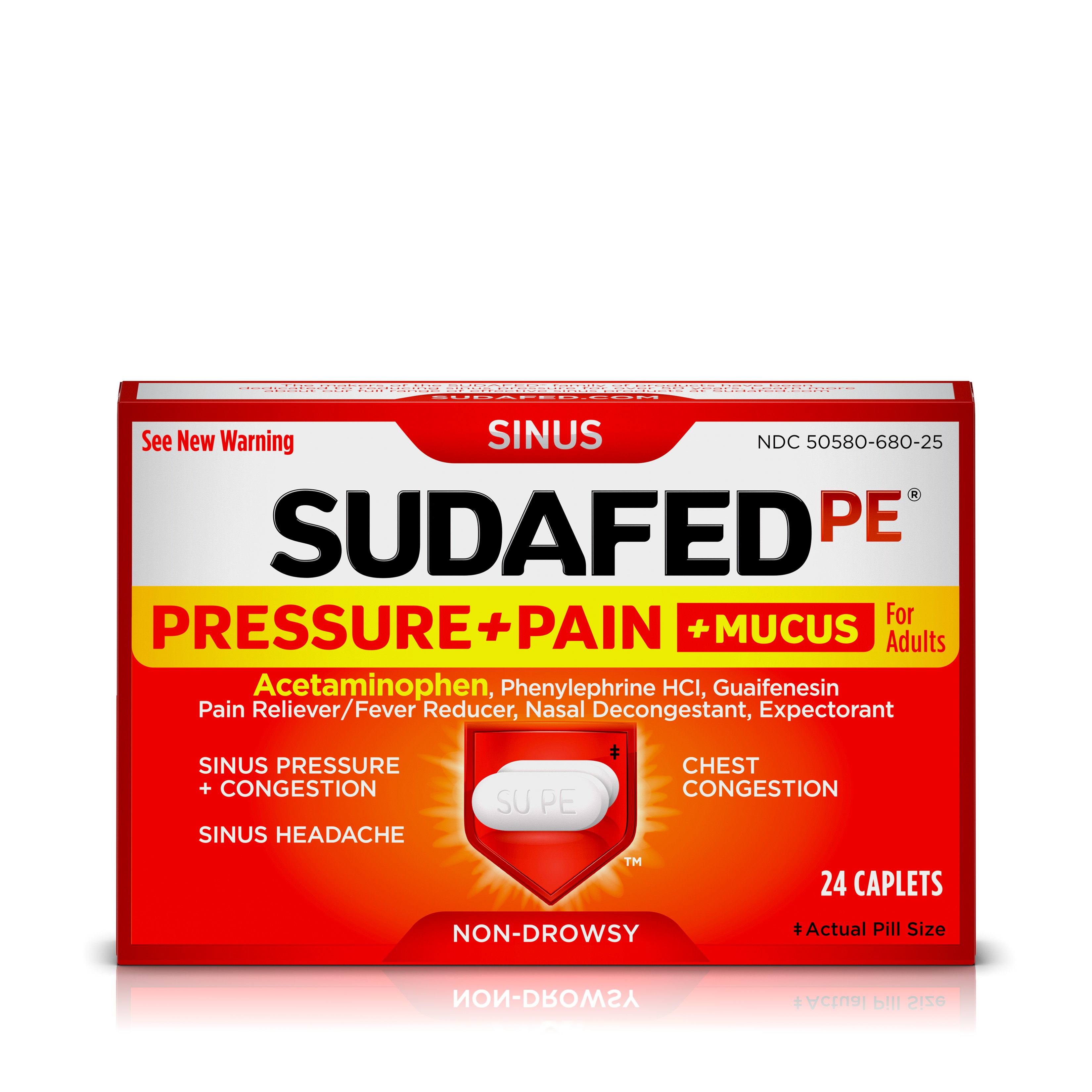 Sudafed PE Sinus Pressure + Pain + Mucus and Congestion Relief, 24 ct