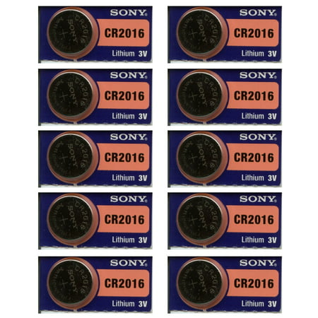 Value Pack Sony Lithium 3V Batteries CR2016 For Watches Remotes Electonics, 10 Pack
