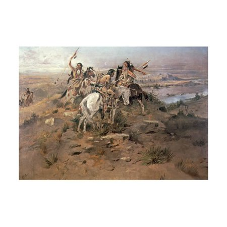 Indians Discovering Lewis and Clark, 1896 Print Wall Art By Charles Marion Russell