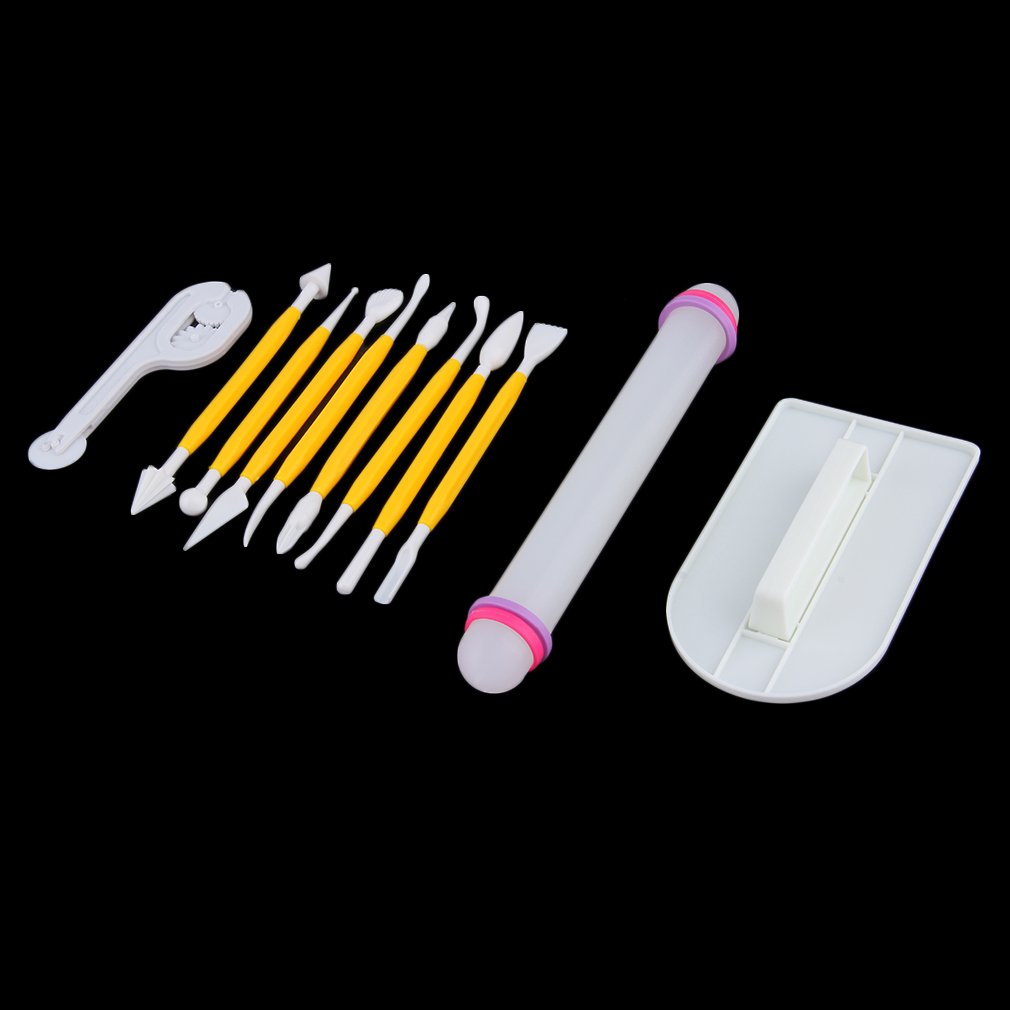 11Pcs Cake Decorating Fondant Rolling Pin Modelling Tool Embosser Mould,Yellow & White