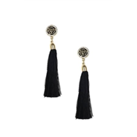 Jewelry Collection Deco Rose Long Tassel Earrings  Black