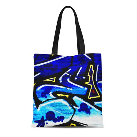 HATIART Canvas Tote Bag Urban Double Sided Graffiti Paint Wall Street Reusable Handbag Shoulder Grocery Shopping Bags - image 1 of 1