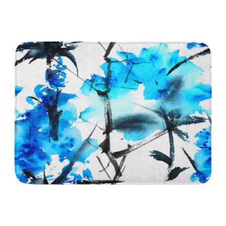 GODPOK Blue Flowers Watercolor and Ink in Style Sumi E U Sin Oriental Traditional Painting Spring Rug Doormat Bath Mat 23.6x15.7 inch
