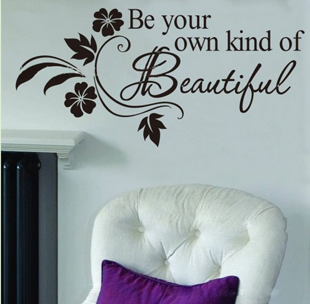 Be Your Own kind of Beautiful Decals Flower Vine Wall Sticker Art Decor, 12-Inch by 24-Inch, Black