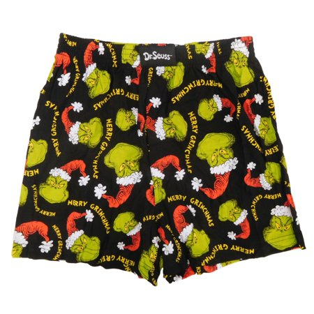 Dr. Seuss Mens The Grinch Santa Hat Merry Grinchmas Holiday Boxer Shorts (Santa Shorts)
