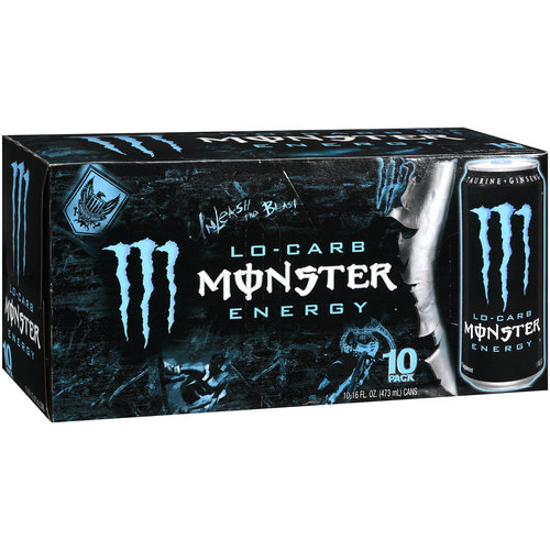Lo Carb Monster Energy Energy Taurine Plus Ginseng Energy Supplement, 10pk