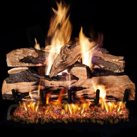 Peterson Real Fyre 24-inch Split Oak Designer Plus Log Set With Vented Natural Gas Ansi Certified G46 Burner - Electronic On/Off