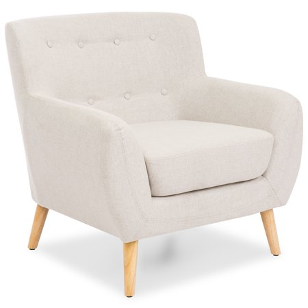 Best Choice Products Mid-Century Modern Linen Upholstered Button Tufted Accent Chair for Living Room, Bedroom - Light