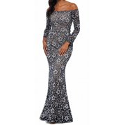 Womens Gown Petite Floral Lace Studded Mermaid 10P