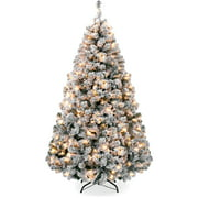 Best Choice Products 9ft Pre-Lit Holiday Christmas Pine Tree w/ Snow Flocked Branches, 900 Warm White Lights