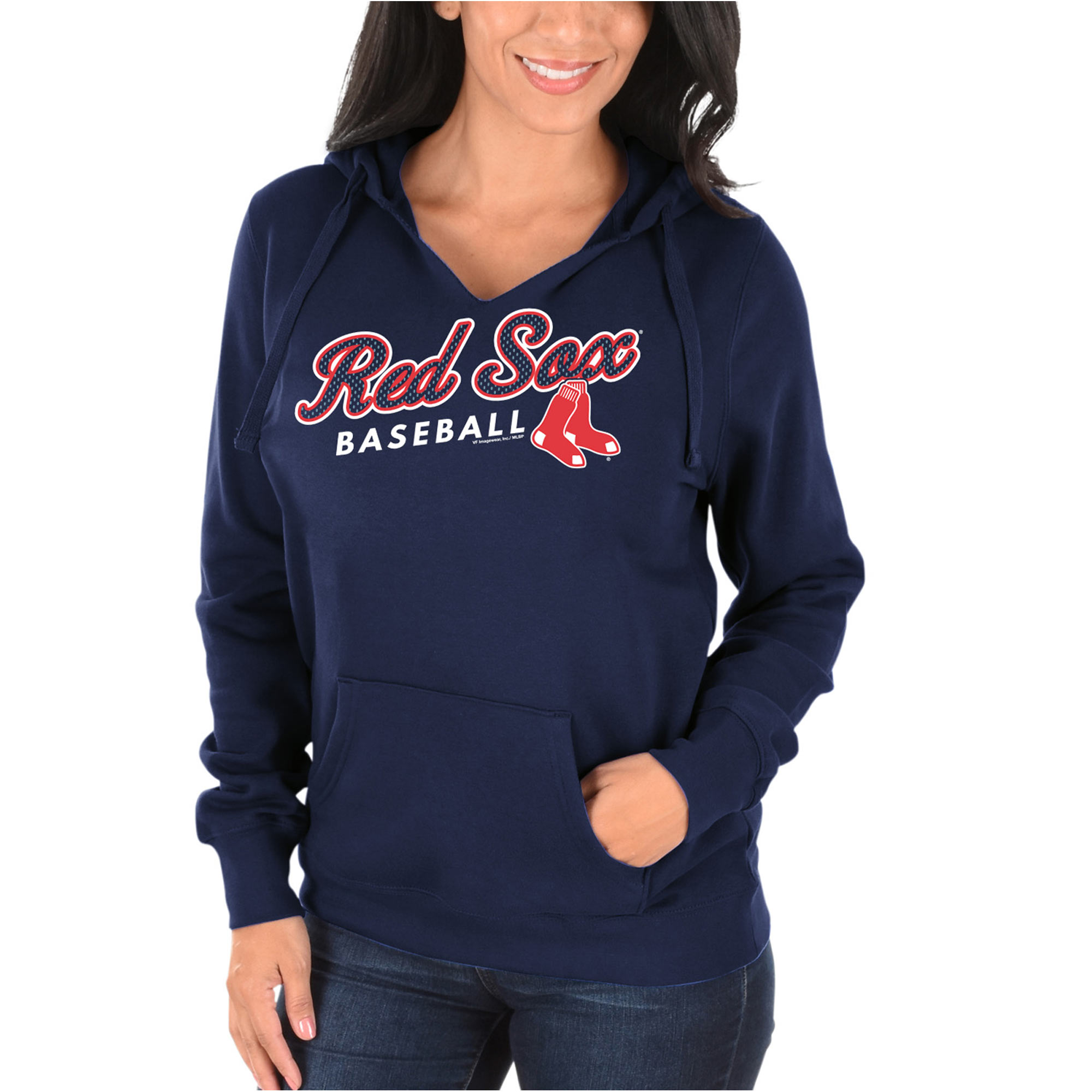 Women's Majestic Navy Boston Red Sox Fresh & Exciting V-Neck Pullover Hoodie