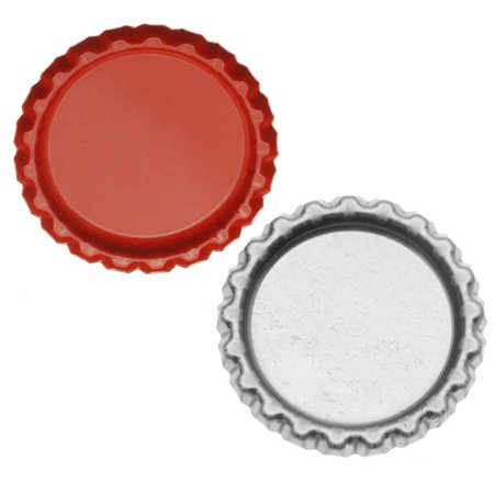 New Red Flat Crown Bottle Caps Craft Scrapbook Jewelry No Liners (50)