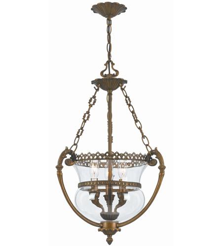 Crystorama 3 Light Brass Glass Pendant IV by Crystorama