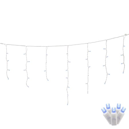 (70 Blue LED Lights / White Wire Wide Angle 9Ft. Icicle Christmas Set)