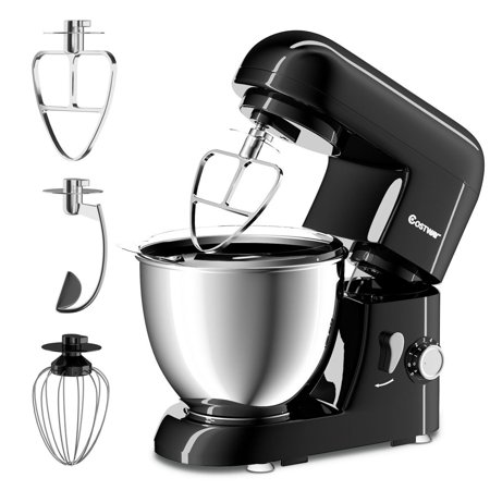 Costway Electric Food Stand Mixer 6 Speed 4.3Qt 550W Tilt-Head Stainless Steel (Best Breville Food Mixer)