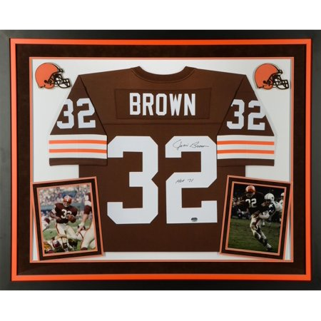 600040ba Jim Brown Cleveland Browns Deluxe Framed Autographed Mitchell & Ness  Replica Jersey with