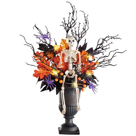 Lighted Halloween Skeleton in Spooky Foliage with Spiders, Indoor Tabletop Décor, Centerpiece