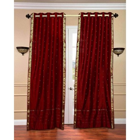 Cleveland Indians Window - Maroon Ring Top  Sheer Sari Curtain / Drape / Panel  - Piece